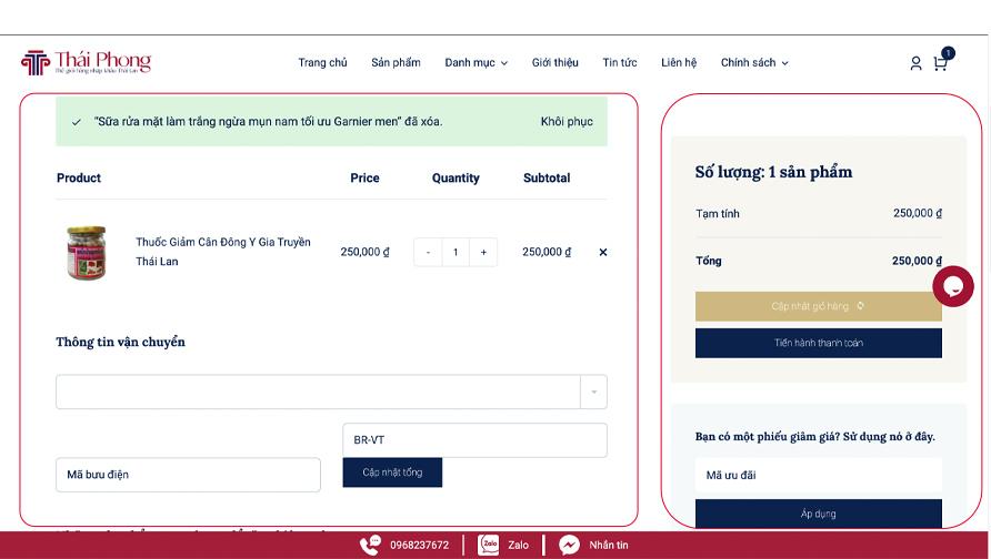 Hướng dẫn mua hàng tại website ThaiPhongStore Mỹ phẩm Thái Lan chính hãng